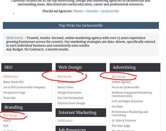 AgencyList ranking for RLS Group advertising agency located in Jacksonville Florida